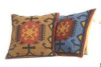 2 Set Indian Hand Woven Kilim Cushion Cover 18X18 Jute Pillows Decorative 8081