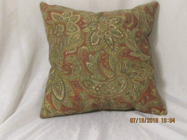 "1 DECORATIVE THROW PILLOW CUSHION COVER 17"" paisley"