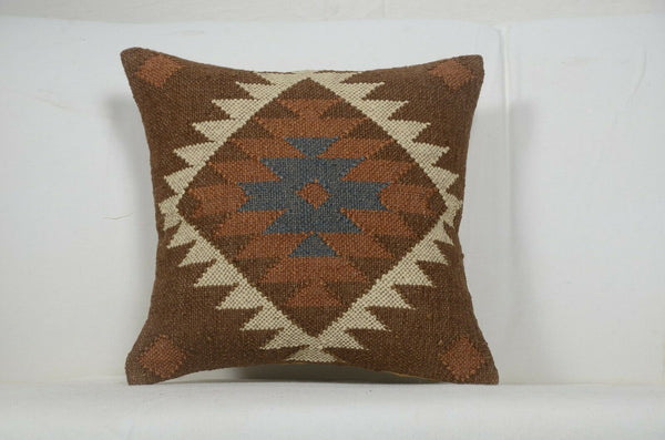 3 set 18x18 Decorative Jute Square Pillow Cases Handwoven Kilim Rustic 1138-CC3