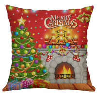 "18"" Christmas Decorative Cotton Linen Square Home Decor Throw Pillow Case"