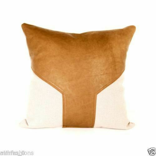 Genuine Lambskin Soft Leather Throw Pillow Cushion Cover Handmade Decorative P1