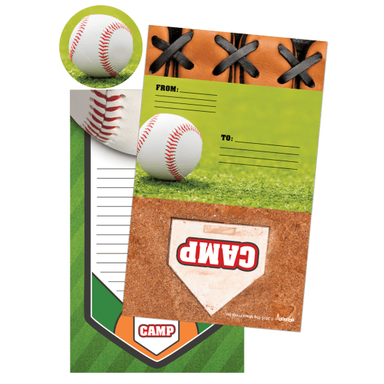 Baseball Foldover Stationery