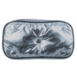 Chrome Metallic Tufted Small Cosmetic Bag
