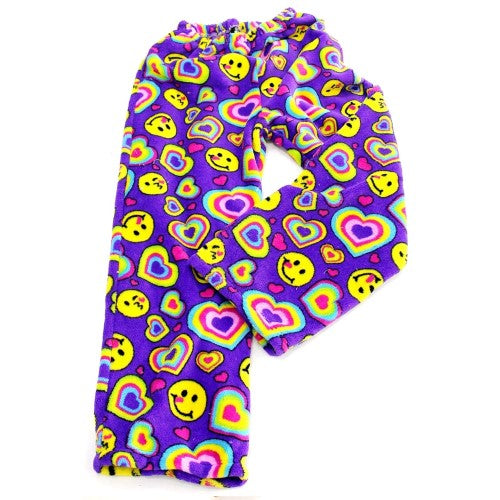 Fuzzy Pajama Pants - Purple Emoji Hearts