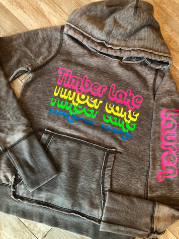 Neon Rainbow Repeat Name Overhead Burnout Sweatshirt