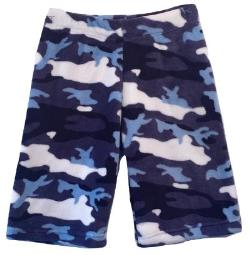 Fuzzy Pajama Shorts (Long/Boys) - Blue Camo