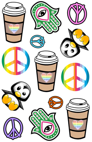 Hamsas, Fraps & Peace Signs Cling-It Sheet