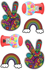 Peace, Rainbows & Gumballs Cling-It Sheet