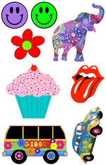 Elephant, Groovy & Cupcake Cling-It Sheet