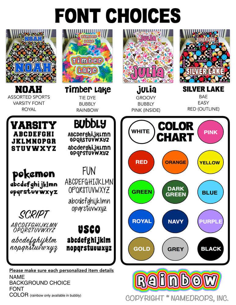 Namedrops Pillows - choose your pattern
