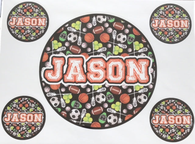 "Sample Sale - Circle Name Decals ""Jason"""