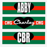 Green/Red Stripe Rectangle Nameplate Decal