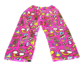 Fuzzy Pajama Pants - Pink Patches