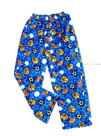 Fuzzy Pajama Pants - Blue Sports