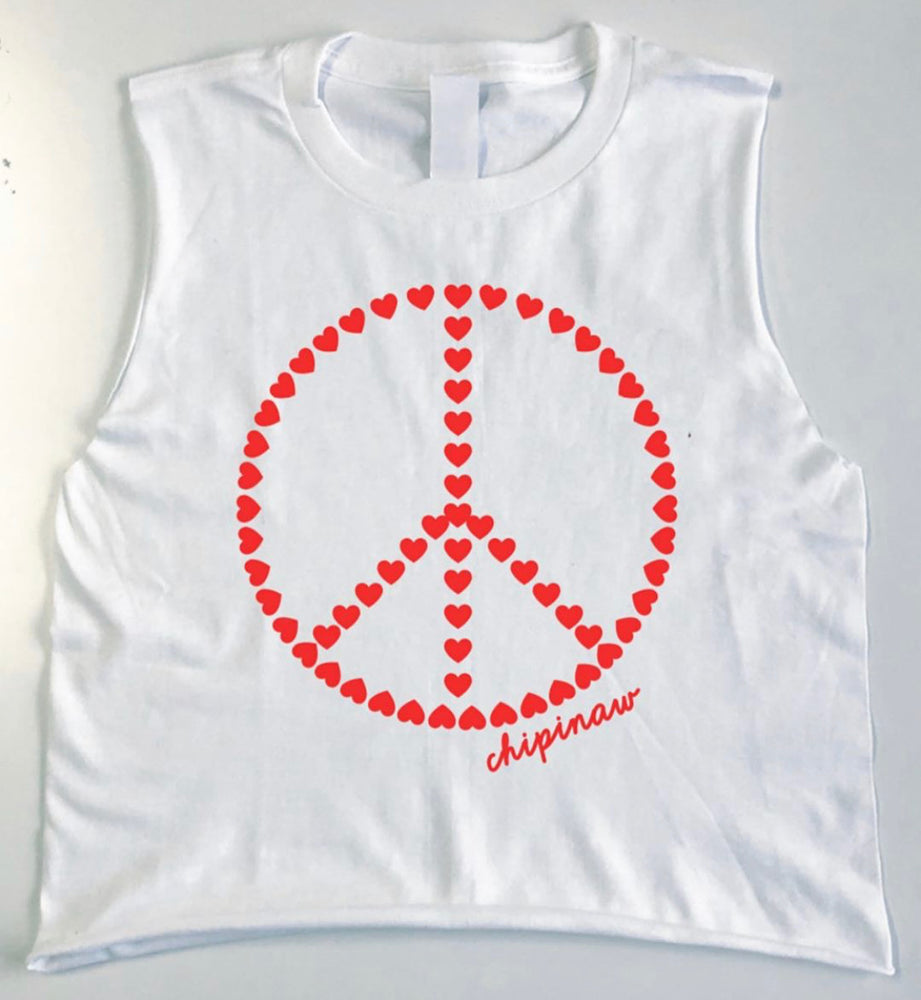Hearts Peace Sign Camp Tank