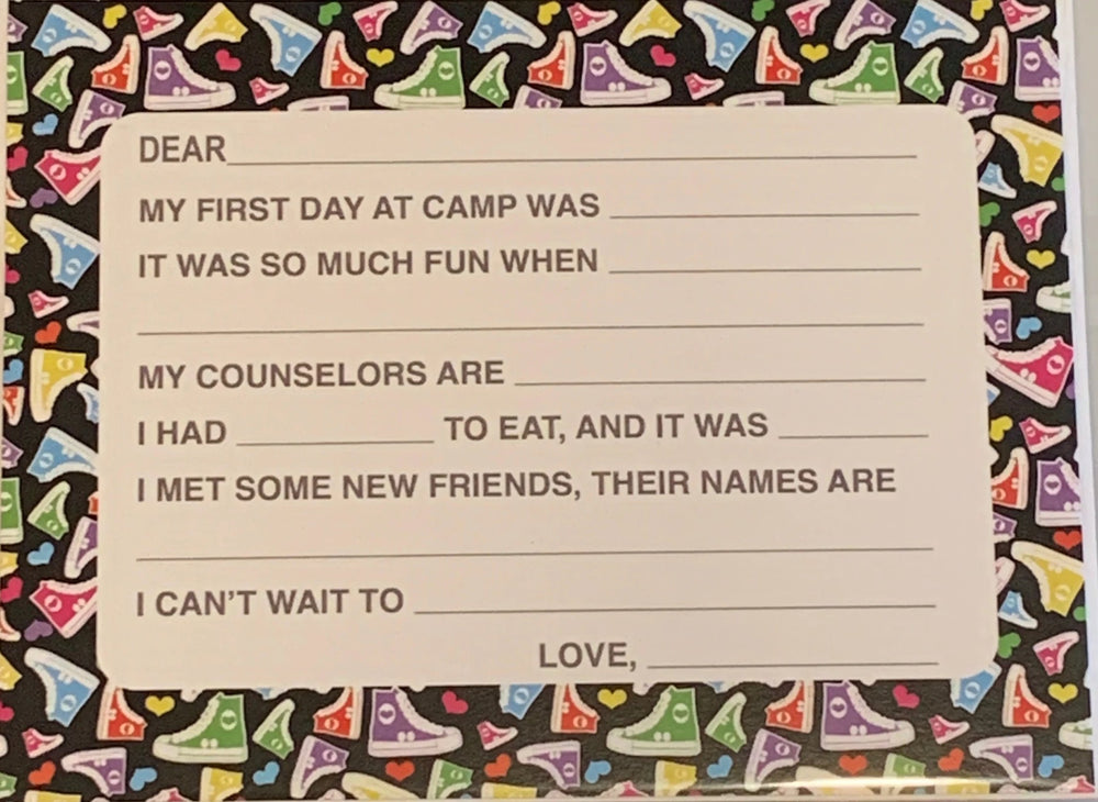 First Day of Camp Fill- In Note Card