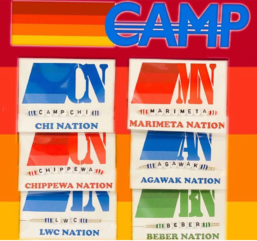 "Single Strand ""Camp Nation"" Bracelet on a Card"