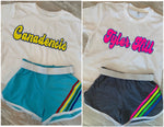 Rainbow Retro Stripe Shorts with White Piping