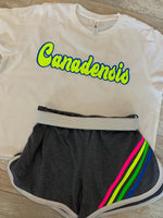 Neon Retro Stripe Shorts with White Piping