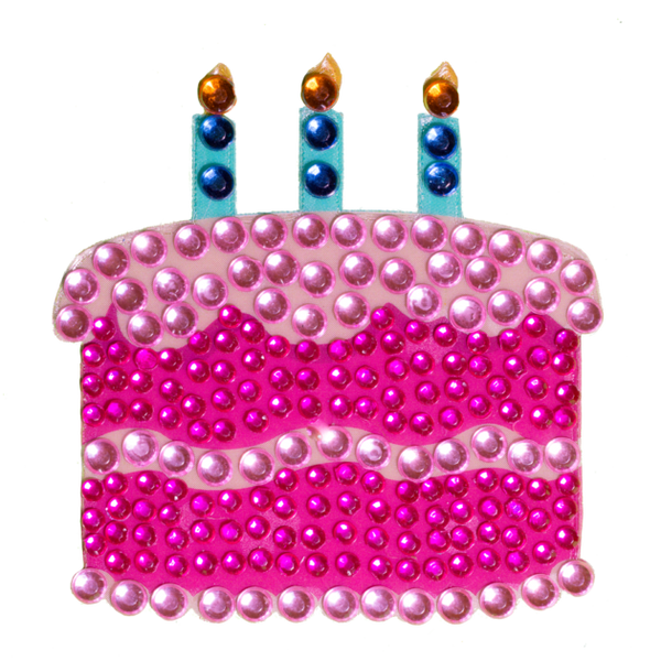 "StickerBeans -Birthday Cake - 2"" Rhinestone Sticker"