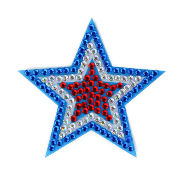 "StickerBeans - Red, White & Blue Star - 2"" Rhinestone Sticker"