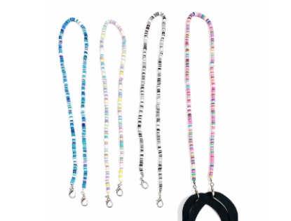 "Rainbow ""Flat"" Bead Mask Chain"