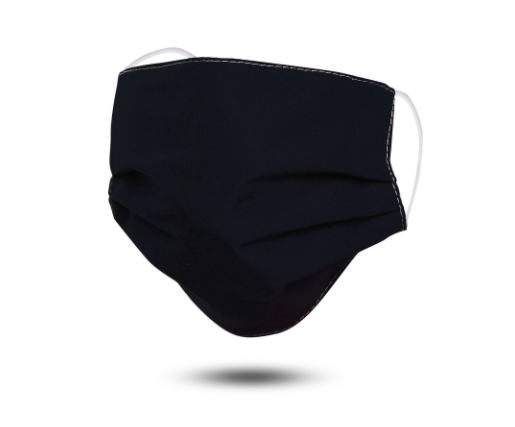 Black Pleated Cotton Mask (Age 8 to Adult)