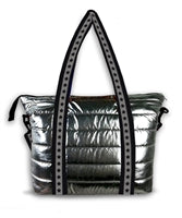 Gunmetal Metallic Puffer Tote with Star Staps