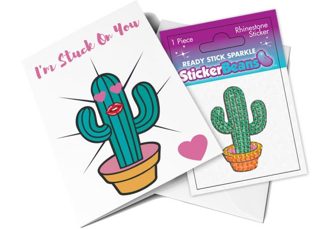 StickerBeans Card - I'm Stuck On You (Cactus)