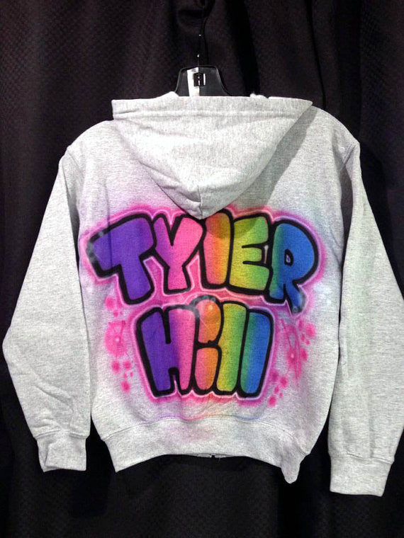 Airbrushed Camp Name Zip-Up Sweatshirt