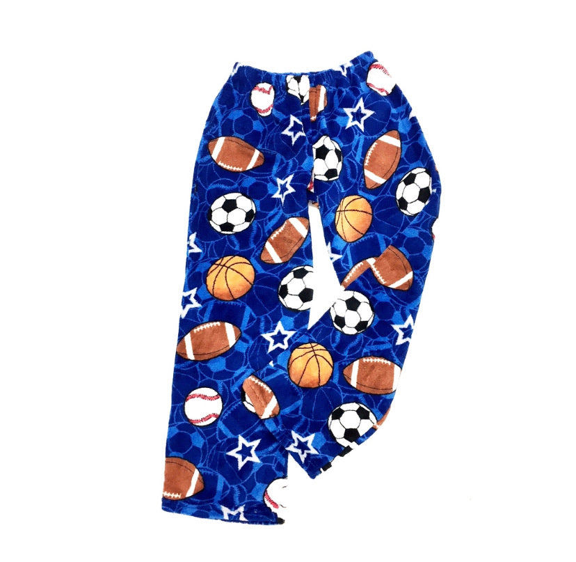 Fuzzy Pajama Pants - Dark Blue Sports