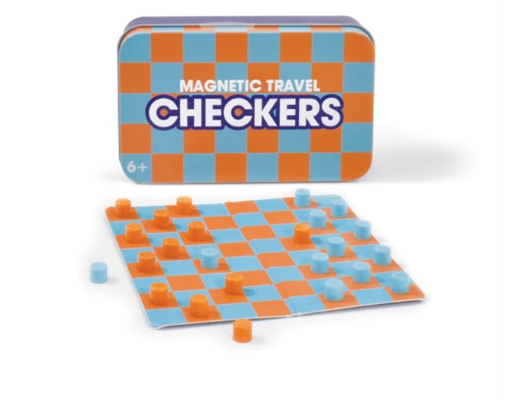Magnetic Tin Travel Checkers