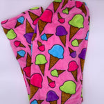 Fuzzy Pajama Pants - Pink Ice Cream Cones