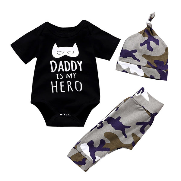 Wisefin Boy Clothing Infant Camo Black Baby Clothes Set