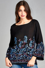 Women's - Embroidered Bell Sleeve Top-Cheapnotic