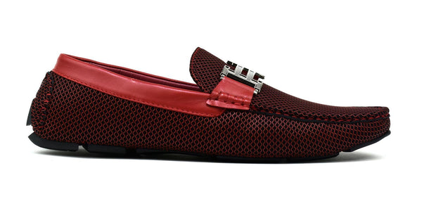 Men's - Double H Buckle Loafer Red-Cheapnotic