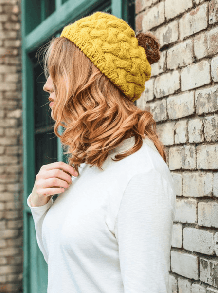 Women's - Beautifully Knit Mustard Beret-Cheapnotic