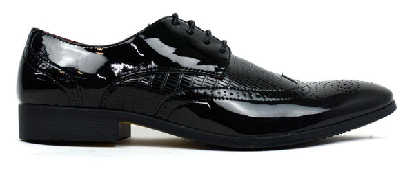 Men's - Formal Brogue Shoes Black Shiny-Cheapnotic
