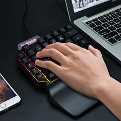 Shipadoo F6 Wired Single Handed RGB Backlight Gaming Keyboard 39 Keys One Hand Ergonomic Game Keypad for PC Laptop Pro PUBG Gamer