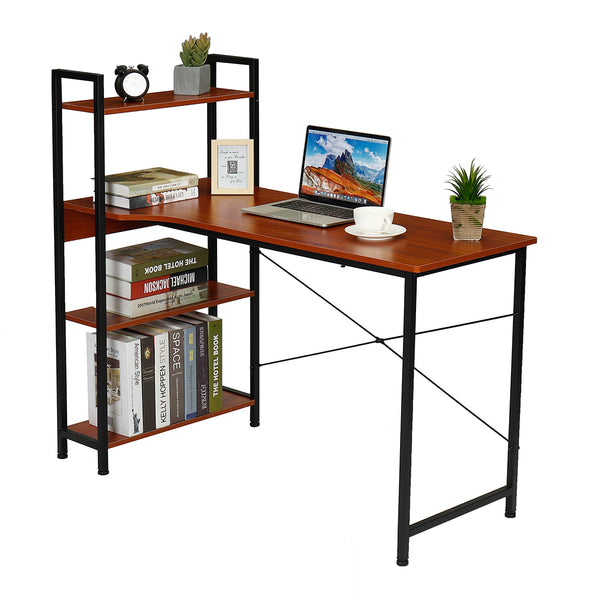 Douxlife® DL-OD05 H-Shaped Computer Laptop Desk 15mm E1MDF X-Shaped Sturdy Steel Structure with 4 Tiers Bookshelf Perfect for Home Office