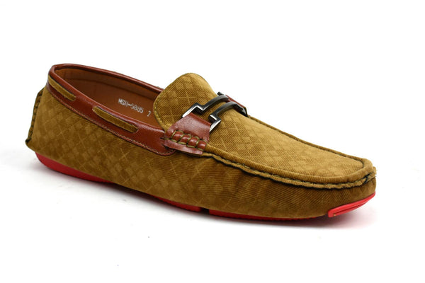 Men's - Unique Faux Suede Loafer Tan