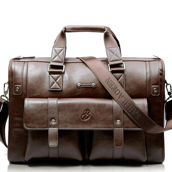 Men Business Vintage Laptop Bag Briefcase Big Capacity  Horizontal Handbag Travel Bag