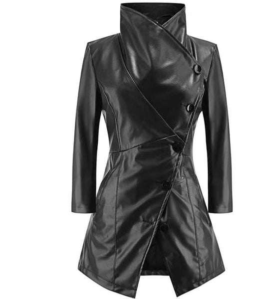 Women's - Medium Long Sleeves PU leather Coat