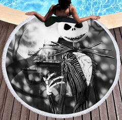 Home - Bedding 3D Printing Round Halloween Skull Beach Towel
