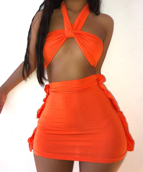 Women's - Solid Color Sexy Suspender Wrapped Chest Bikini Tight Lifting Hip Mini Skirt Suit