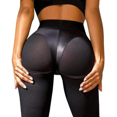 Women's - Sexy Leather Short Mesh Workout Fitness Push Up Short Patchwork Black Leggings