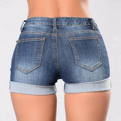 Women's - Denim Jeans Vintage Floral Embroidered Blue Crimping Shorts Summer Casual High Waist