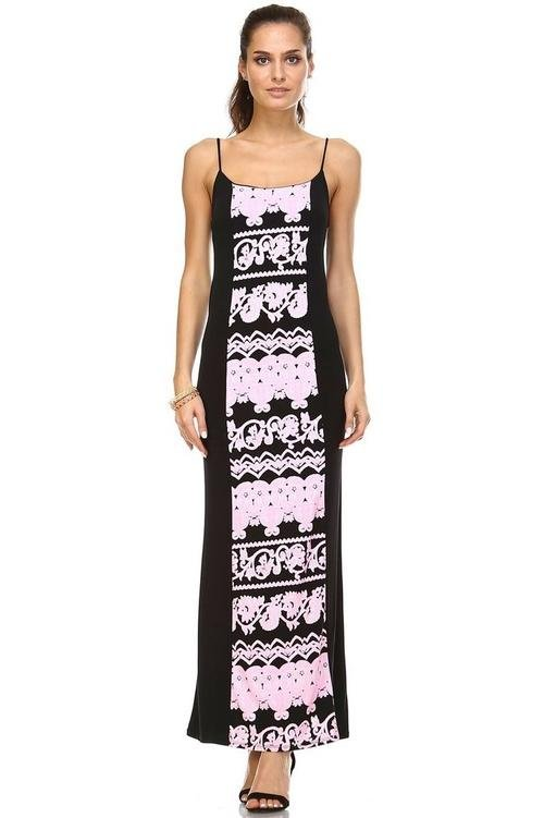 Women's - Printed Contrast Maxi Tank Dress-Cheapnotic