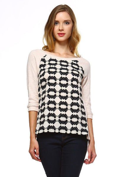 Women's - Knit to Woven Printed Sweater Top-Cheapnotic
