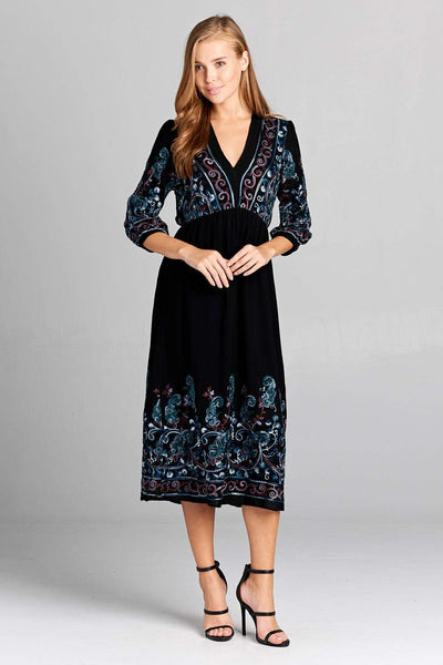 Women's - Embroidered Long Sleeve Maxi Dress-Cheapnotic